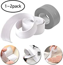 Caulk Strip Bathroom Caulking Tape Waterproof Flexible Self Adhesive Sealing Tape Mildew Proof for Bathtub Kitchen Toilet and Wall Corner 1.5inch x 11ft/38mm x 3.2m(White/Grey)