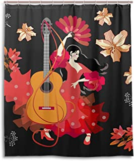Vdsrup Beautiful Spanish Girl Guitar Shower Curtain Bathroom Traditional Flamenco Modern Bath Curtain 60X72 inch Waterproof Polyester Fabric Shower Drapes Curtain with 12 Hooks Home Decor