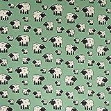 Baumwolljersey Schafe lindgrün - Preis gilt für 0,5 Meter