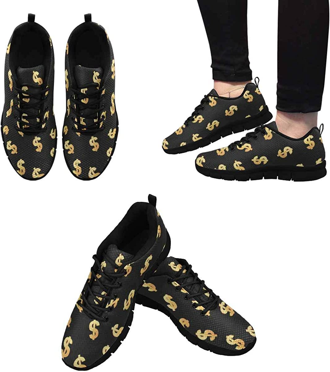 INTERESTPRINT Finance Theme with Gold Dollar Symbol Women's Athletic Walking Shoes Casual Mesh Comfortable Work Sneakers