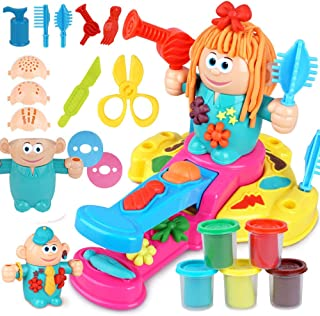 HenMerry Kids Play Clay Dough Toy Tool Set,Handmade DIY Creative 3D Color Mud Toy Pretend Barber Hairdresser Role Play Hair Grow Design Cut Comb Plasticine Tool Kit (Upgraded)