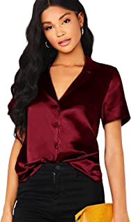 ROMWE Women's Elegant Notched Collar Button Down Short Sleeve Satin Blouse Shirt Tops