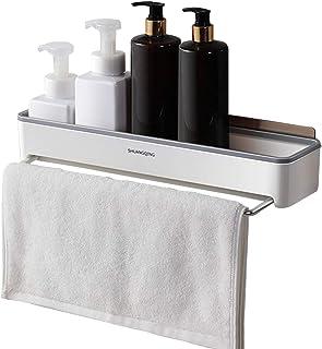 シャワー棚、シャワーバータオルバー付き接着性バスルームウォールシェルフ穴あけシャワー収納バスケット頑丈なアルミニウムシャワーオーガナイザー