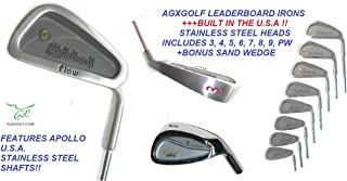 AGXGOLF Men's Senior Flex Leaderboard Wide Sole Stainless Steel Irons Set; 3-PW w/Free Sand Wedge Right Hand: Cadet, Regular or Tall Length Built in The U.S.A