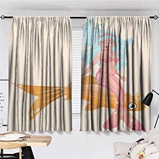 Sun Tao Mermaid Decor Collection Curtains Dining Room Smiling Little Mermaid Girl and Golden Fish Childhood Fantasy Crown Princess Image Blue Mustard Pink Curtains Girls Bedroom