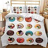 Bedding Juego con Funda de edredón, en Microfibra, Donuts de Colores 3 Piezas Juego de Funda de Edredón con 2 Fundas de...