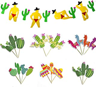 LLGLTEC Mexican Fiesta Party Banner, Fiesta Theme Cake Toppers Fiesta Party Banner Set for Cinco de Mayo Cactus Decorations Birthday Party Supplies (3)