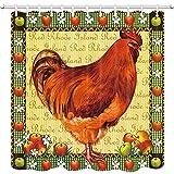 Farm Animals Duschvorhang Huhn & Apfel Badezimmer Vorhang Polyester Stoff Bad Gardinen mit Haken