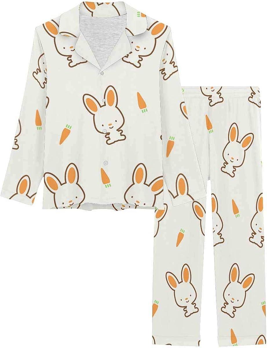 InterestPrint Notch Collar Loungewear Sleepwear Soft Nightwear for Women Bunny and Carrot