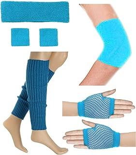 80's Retro Running Yoga Sport Headband Wristband Leg Warmers Elbow Guard Set
