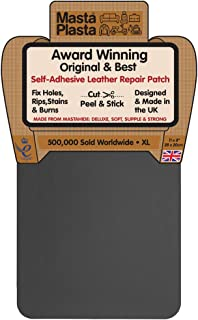 MastaPlasta Self-Adhesive Patch for Leather and Vinyl Repair, XL Plain, Grey - 8 x 11 Inch