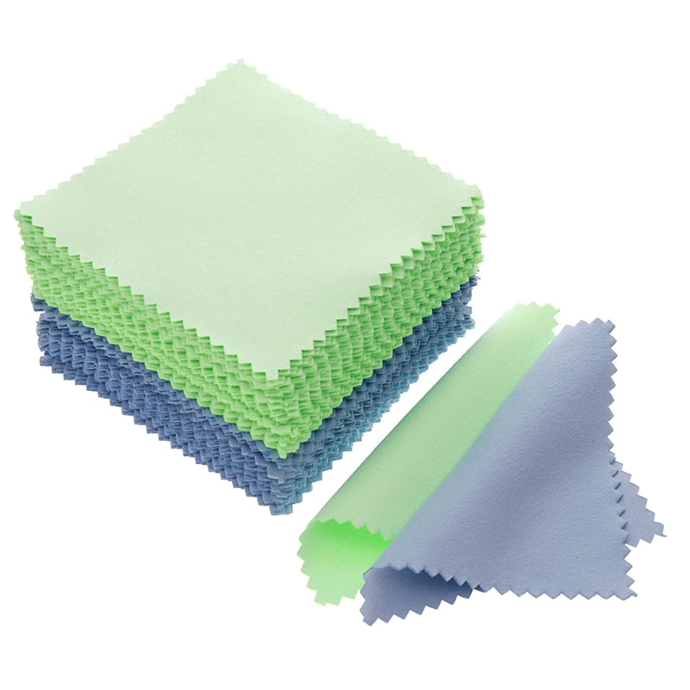 JUANYA 100pcs Jewelry Cleaning Cloth Polishing Cloth for Sterling Silver Gold Platinum (Green Blue) y97120020640402