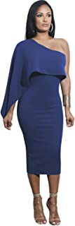 Cloak Poncho Cape Style Ruffled Ruffle Hem Asymmetric Off The Shoulder Midi Bodycon Dress