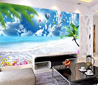 Wall Mural 3D Seascape, Blue Sky, White Clouds, Hot Air Balloon, Coconut Tree Custom Wallpaper 3D Effect Large Mural Wall Murals Home Decor