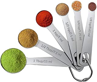 bC BimeTALliC CAble Spoon Kitchen 6pcs Dry and Liquid Ingredients,Measuring Tool Stainless Steel Teaspoon Tablespoon Nesti...