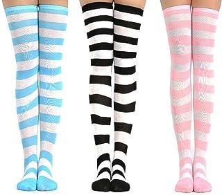 linjinde, 3 pares de calcetines hasta la rodilla lindo conjunto de rayas para mujer mujeres adolescentes niña, kawaii colorido sobre la rodilla medias largas altos rizados hasta el muslo para cosplay carnaval