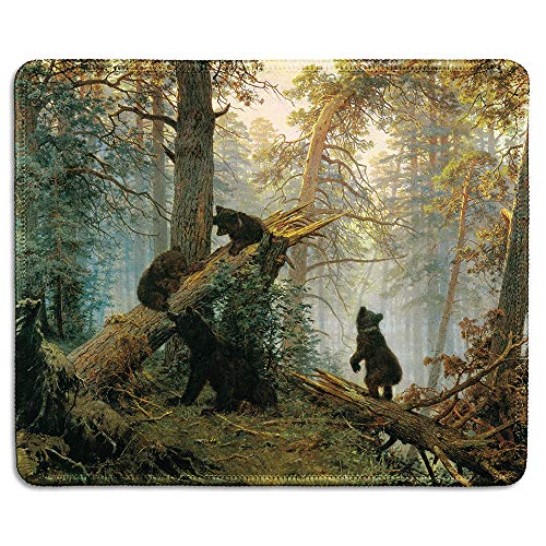 dealzEpic - Art Mousepad - Natural Rubber Mouse Pad with Famous Painting of Morning in a Pine Forest with Bears by Russian Artist Ivan Shishkin - Stitched Edges - 9.5x7.9 inches
