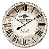 Alice's Collection – Groß Vintage rund Holz Wanduhr aus MDF, Durchmesser 80 cm