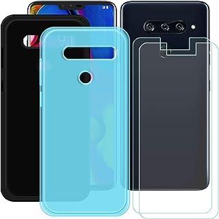 YZKJ [2 stycken skal för LG V40 ThinQ Cover svart + blå mjuk silikon skyddande skydd TPU skal skal skal + 2 x pansarglas s...
