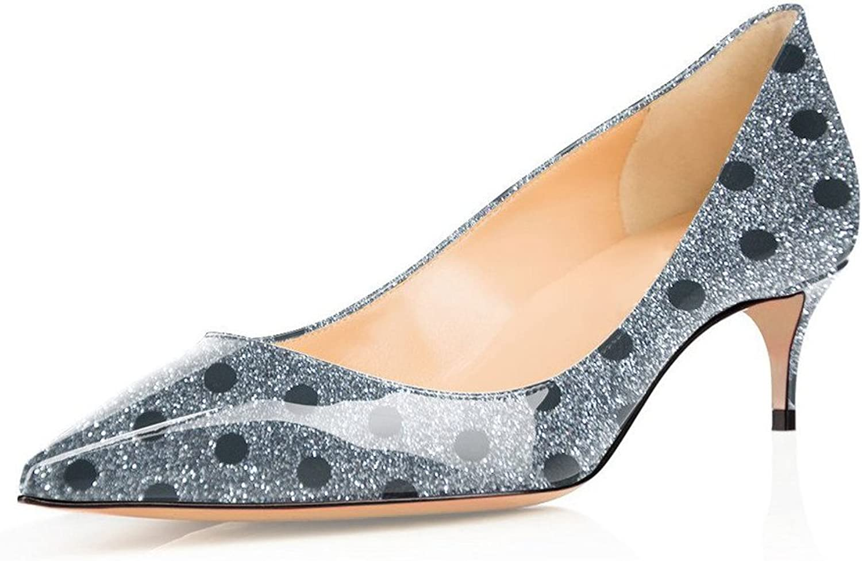 UMEXI Women Pointed Toe Fashion Kitten Heel Lady's Low Heel Pumps for Wedding Dress