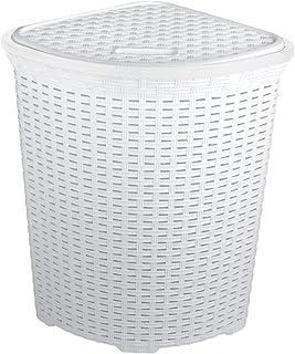 LHYLHY Panier àlinge et àLaver enFaux rotin Blanc d'angle– 52 litres