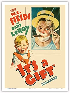 Pacifica Island Art - It's a Gift - Starring W.C. Fields, Baby Leroy - Directed by Norman McLeod - Vintage Film Movie Poster c.1934 - Master Art Print - 9in x 12in