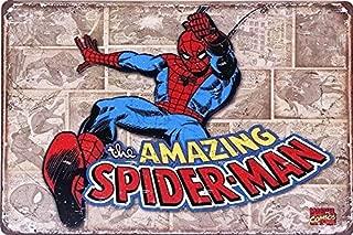 UNiQ Designs Spiderman Poster - Retro Comic Super Hero Wall Art Metal Posters Tin Signs - Spiderman Wall Decor Superhero Signs Comic Posters - Retro Movie Posters - Spiderman Wall Art 8x12