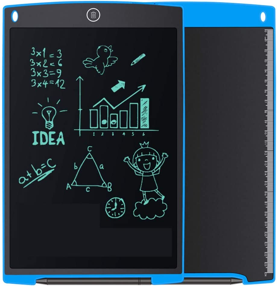 FAgdsyigao LCD Writing Tablet Thin Message Screen Drawing Board with Pen for Office School Blue 12 Inch Digital Handwriting Pads