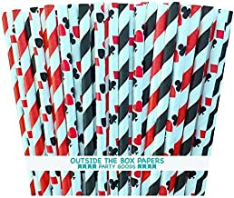 Outside the Box Papers Casino Night Theme Striped and Card Design Paper Straws 7.75 Inches Pack of 100 Black, White, Red