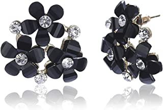 Prita Trendy Black American Diamond Floral Designer Stunning Stud/Tops Earrings For Women/Girls