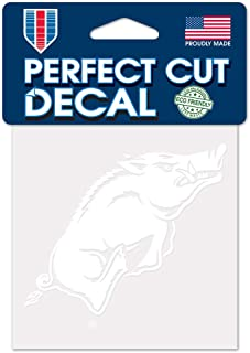 WinCraft NCAA Arkansas Razorbacks 4x4 Perfect Cut White Decal, One Size, Team Color
