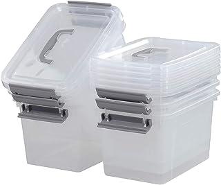Kiddream Set of 6 Plastic Latching Storage Box Bin with Gray Handle, 5.5 Liter