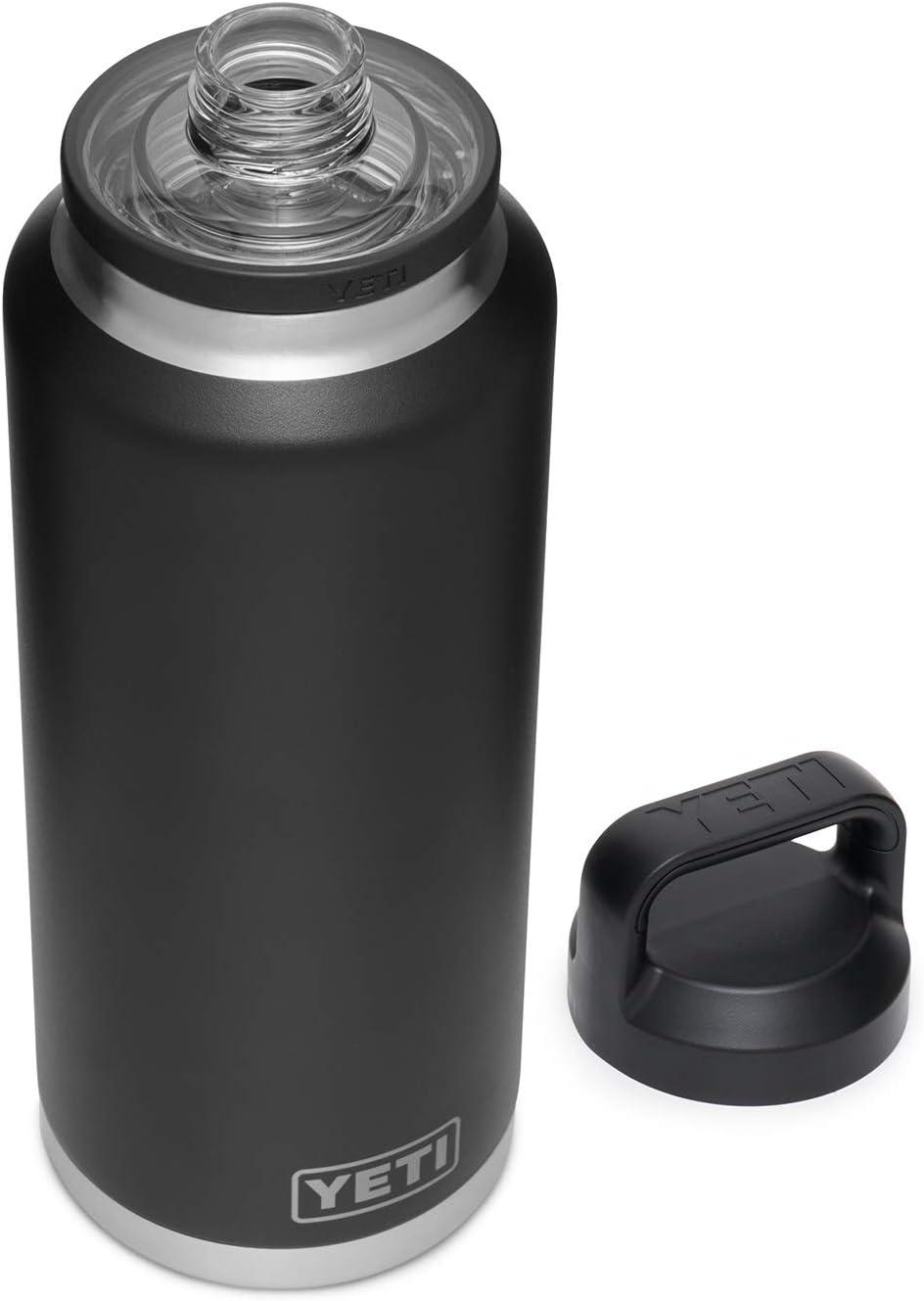 YETI Rambler 46 oz Bottle, Vacuum Insulated, Stainless Steel with Chug Cap, Black