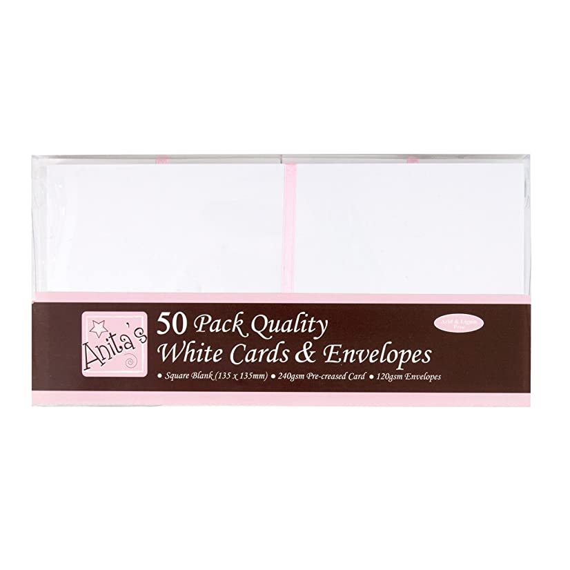 DOCrafts Anita's Square Cards/Envelopes, 5 by 5-Inch, White, 50-Pack