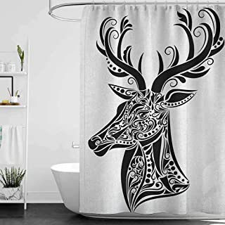 Shower Curtains Fabric Flowers Antlers,Tattoo Pattern in The Shape of a Deer Creative Portrait in Black and White Colors, Black White W48 x L72,Shower Curtain for Men