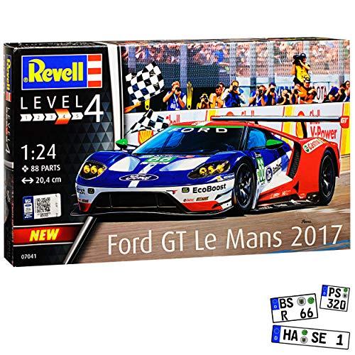 Ford GT Le Mans 2017 Rennwagen 07041 Bausatz Kit 1/24 Revell Modell Auto mit individiuellem Wunschkennzeichen