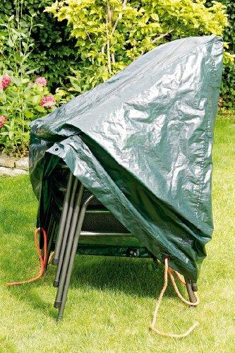 Rainexo Abdeckplane für Gartenmöbel / Wetterschutzhaube hochreißfest, Grün, für 4 stapelbare Sessel 0.65 x 1.15 x 0.68 m
