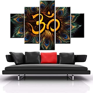 Black and White Pictures Ancient Hindu Religion Paintings Brahmanism Om Symbol Wall Art for Living Room 5 Panel Printed on Canvas Home Modern Decor Stretched and Framed Ready to Hang(60''Wx40''H)
