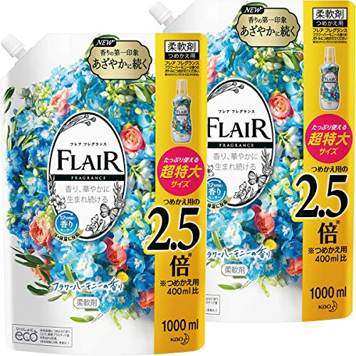 [Amazon.co.jp Exclusive] Flair Fragrance Fabric Softener Flower & Harmony Refill Large Capacity 33.8 fl oz (1,000 ml) x 2