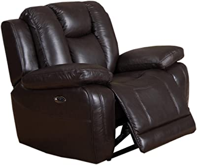Coja by Sofa4life Leather Power Recliner, Brown