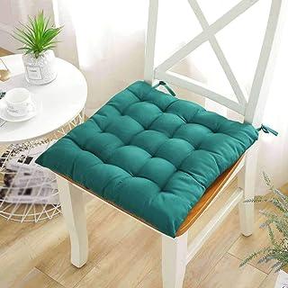 DWXN Cojines para sillas de Cocina 45x45, con Correas, Grueso Cojines para sillas de Jardin, Mimbre Cojines de Asiento, cojín Acolchado de terraza y Jardin, para Interior y Exterior-1paquete-Verde