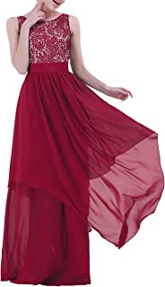 IEFIEL Vestido Largo de Fiesta Boda Cóctel para Mujer Vestido Largo de Gasa Encaje Vestido Largo de Dama de Honor Elegante...