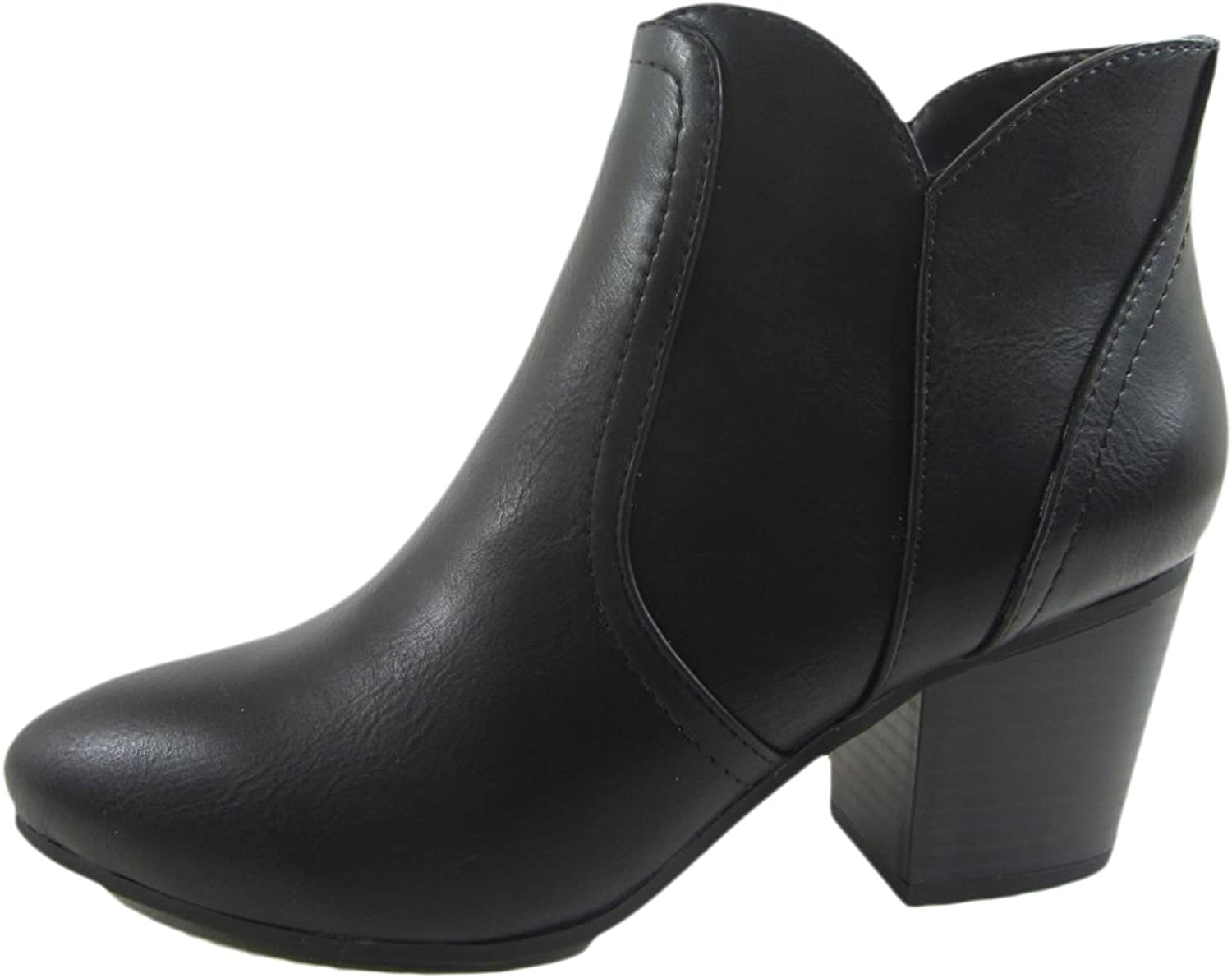 SODA Women's Newbury Leatherette Stacked Heel Ankle Booties