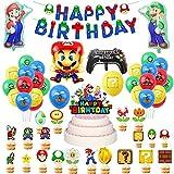 Decoraciones Fiestas Super Mario Globos Mario Bros Banner de Feliz Cumpleaños de Mario Bros Globos de Papel Aluminio de Cumpleaños de Super Mario Decoración para Tarta de Mario Bros