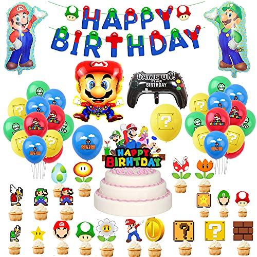 Décorations Fête Thème de Super Mario Ballons Mario Bros Bannière Joyeux Anniversaire Mario Bros Ballons Aluminium pour Anniversaire de Super Mario Décoration de Gâteau Mario Bros