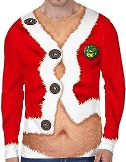 945e240566a8f Loalirando Vêtement Noël Homme T-Shirt Drôle à Manches Longues Pull Moche  de Noël Motifs