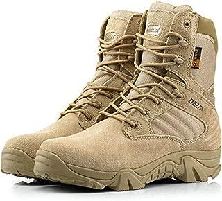 Hombres Ejército Militar Táctico Deportes al Aire Libre Camping Senderismo Trabajo de Combate Cordones Transpirable Alto Top Cremallera Lateral Desierto Zapatos de Cuero Botas DE Tan Khaki