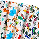 BULKYTREE Birthday Wrapping Paper - Folded Flat, 12 Sheets Dinosaur, Monster Truck, Happy Animals Design Gift Wrap for Kids Birthday, Baby Shower and Holiday - 20 x 29 Inch Per Sheet