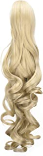 SEIKEA 24 Inch Claw Clip Ponytail Extension Long Curly Pony Tail Jaw in with Grip Wavy Hair - Creamy Blonde