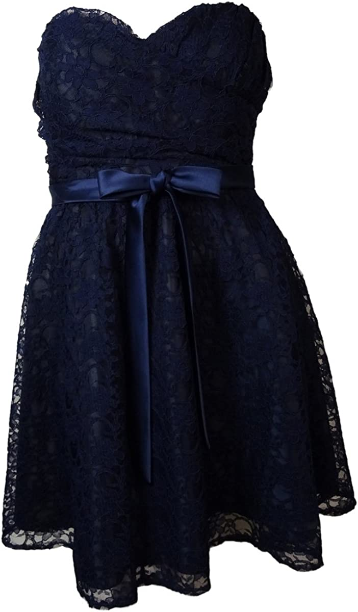 Marina Women's Belted Lace Sweetheart Strapless Dress (14, Navy)